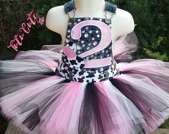 Cow Themed Tutu Overalls