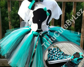 Teal Black and White Girl Silhouette Tutu Set With or Without Converse