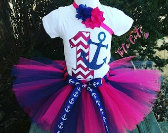 Pink and Navy Blue Anchor Tutu Set