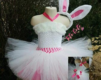Easter Bunny Tutu Dress, Pink and White Tutu Dress,  Holiday Dress, Bunny Ears, Photography Prop
