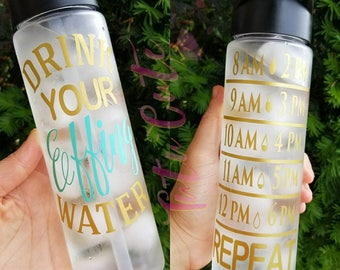 Drink Your Effing Water Motivational Water Bottle, Fittness Water Bottle, 24oz Water Bottle, Water Tracker Water Bottle