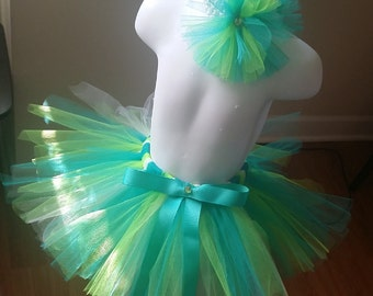 Teal, Lime Green and White Tutu