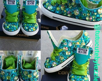 Teal and Lime Green converse - Peacock Converse