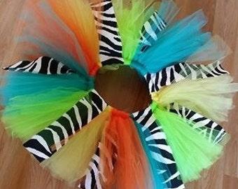 Teal, Yellow, Orange, Lime Green and Zebra Print Tutu, Monster Inc with a twist Tutu