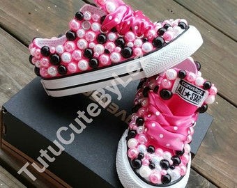 Pink, Black and White Pearl Converse