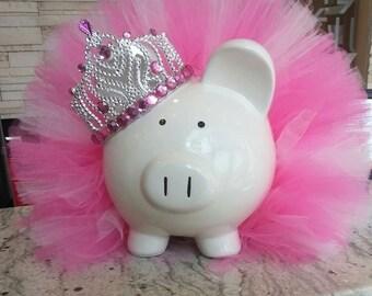 Large Pink Princess Tutu Piggy Bank