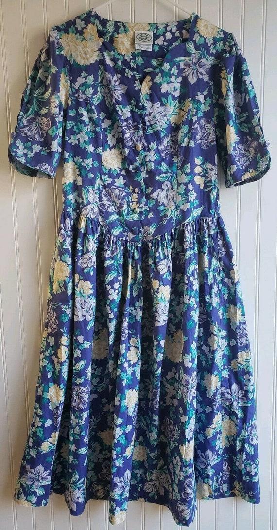 Vintage Laura Ashley Blue Floral Print Tea Cotton