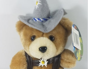 c1d28b5c73c NWT Jodel Hais tan German yodeling 8.5 inch plush bear brown lederhosen  Eidelweiss flower toy