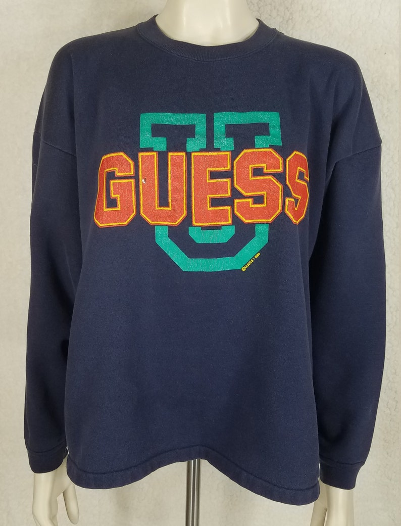 a73a1f323 Guess U navy blue large spell out logo crew neck sweatshirt | Etsy