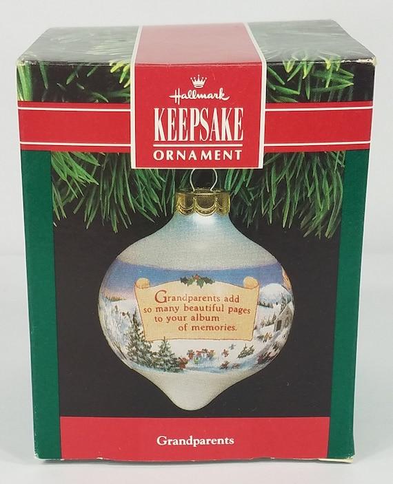 The Christmas Tree 1991.Hallmark Grandparents 1991 Teardrop Glass Christmas Tree Ornament W Box