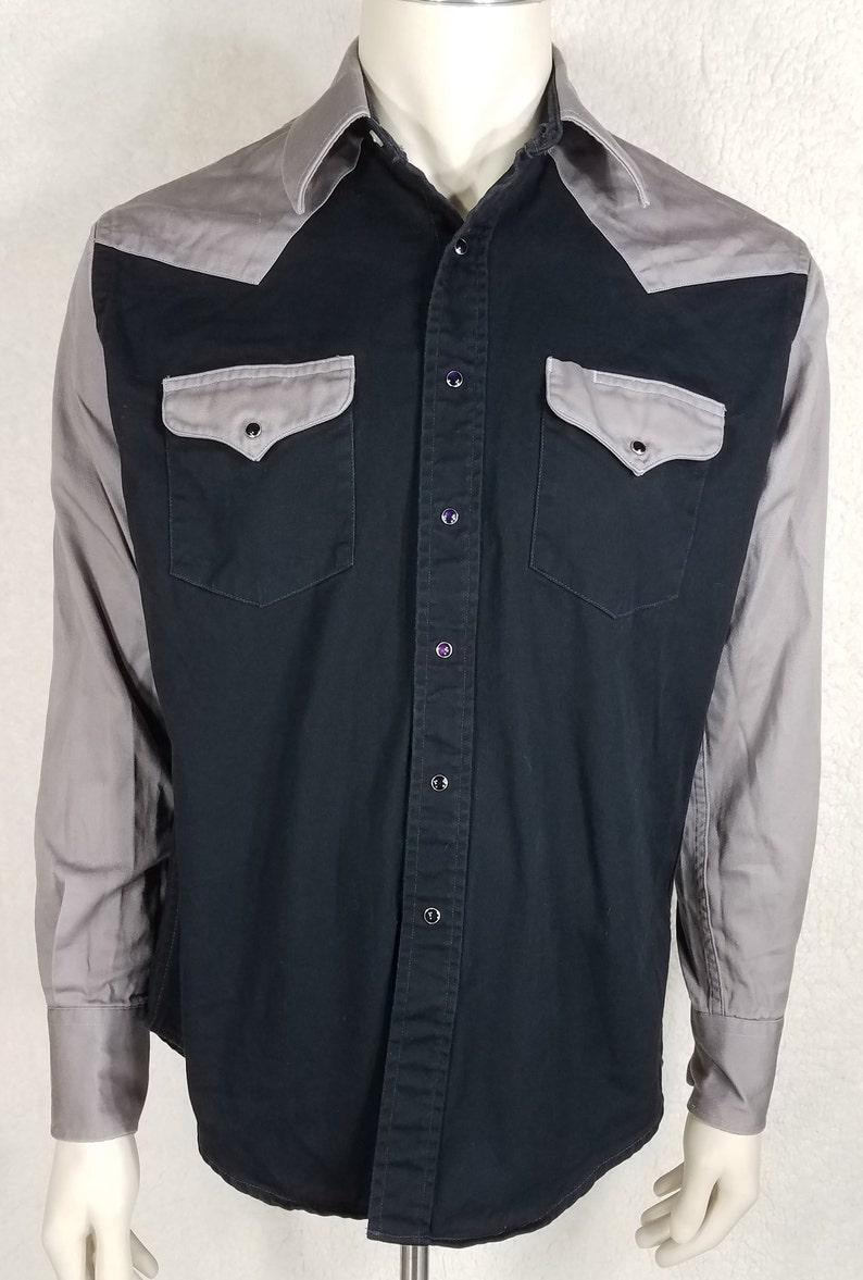 Drysdales black gray thick cotton snap button long sleeve shirt mens Medium