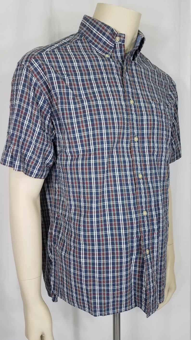 ee362b18 Tommy Hilfiger navy blue red white plaid casual short sleeve | Etsy