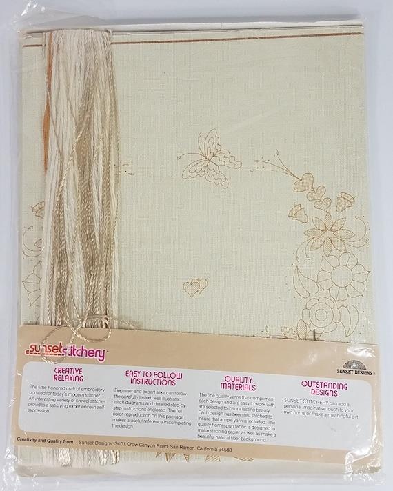 """Vintage 1979 Sunset Stitchery """"Anniversary Keepsake"""" Crewel Embroidery Kit 2670"""