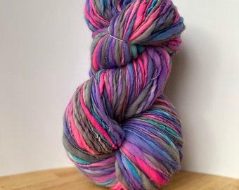 302 Yards Handspun Hand Spun Thick and Thin Yarn, slub slubby yarn, Superfine Merino 19.5 micron super uber soft bulky chunky