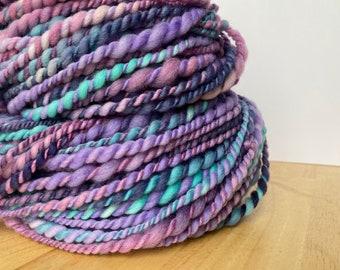 Yarn Hand spun 140+ Yards  - Superfine Merino wool, crazy soft, thick and thin, 2 ply, hand dyed, bulky chunky Handspun