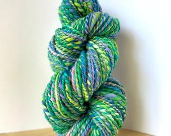 Handspun Hand Spun Yarn - Superfine Merino wool, crazy soft, thick and thin, 2 ply, hand dyed, bulky chunky