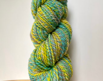 154 Yards Handspun Hand Spun Yarn - Superfine Merino wool, crazy soft, thick and thin, 2 ply, hand dyed, bulky chunky