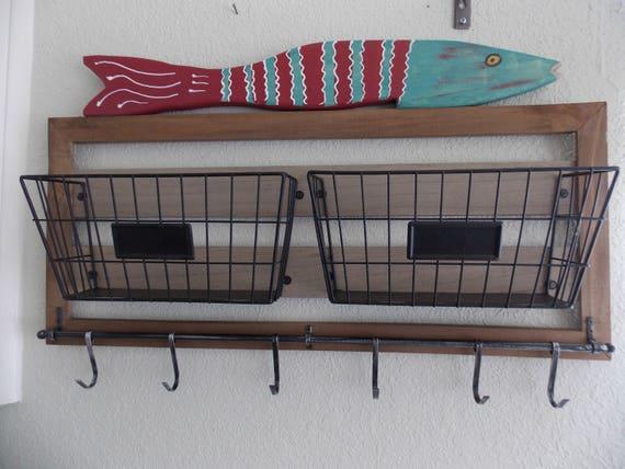 COASTAL KITCHEN STORAGE . Bath Storage . Solid Wood wi Metal Baskets .  Handpainted Folkart Fish . Unique . Exclusive