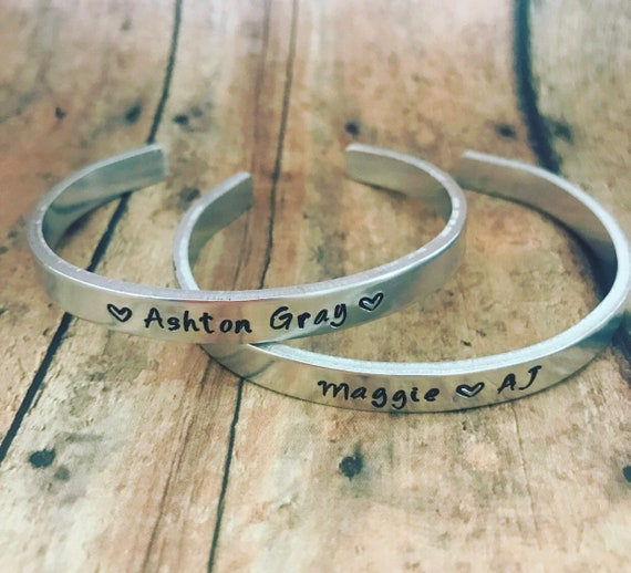 6ca88a2c0f969 Custom Handstamped Cuff Bracelet, Name Bracelet, Mother's Gift,  Personalized Name Jewelry, Names and Heart, Gift for Mom, Gift for Her