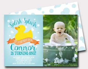 Ducky invitations etsy rubber duck birthday invitation rubber ducky duck birthday invitation splish splash first birthday second birthday filmwisefo