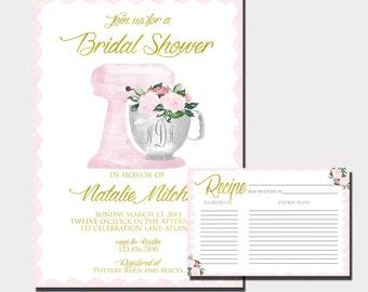 floral monogram bridal shower invitation kitchen shower invitation recipe card