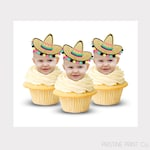 Fiesta Cupcake Toppers | Mexican Cupcake Toppers | Fiesta Birthday Invitation | Face Cut Out Toppers | First Fiesta | Fiesta Decorations
