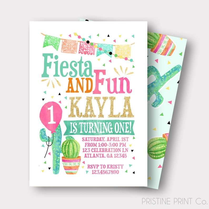 Fiesta Birthday Invitation Spanish Image
