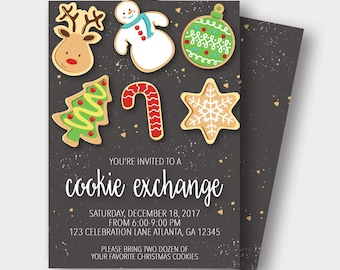 Cookie Exchange Invitation | Christmas Cookie Invitation | Cookie Swap Invitation | Holiday Cookie Invitation |Gingerbread Cookie Invitation