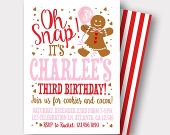 Christmas Birthday Invitation   Gingerbread Cookie Invitation   Gingerbread House Invitation   Cookie Exchange   Oh Snap  