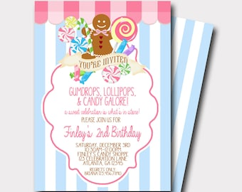 Candy Shop Invitation   Candy Invitation   Sweet Celebration   Cookie Exchange   Gingerbread Cookie Invitation   Lollipop Invitation