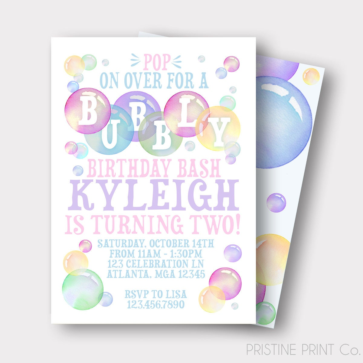 Bubble Birthday Invitation Bubbly Birthday Bash Bubble | Etsy