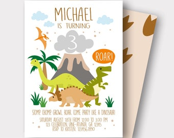 Dinosaur Birthday Invitation | Dinosaur Invitation | | Reptile Birthday Invitation | First Birthday | Boys Birthday | Stom Chomp Growl Roar