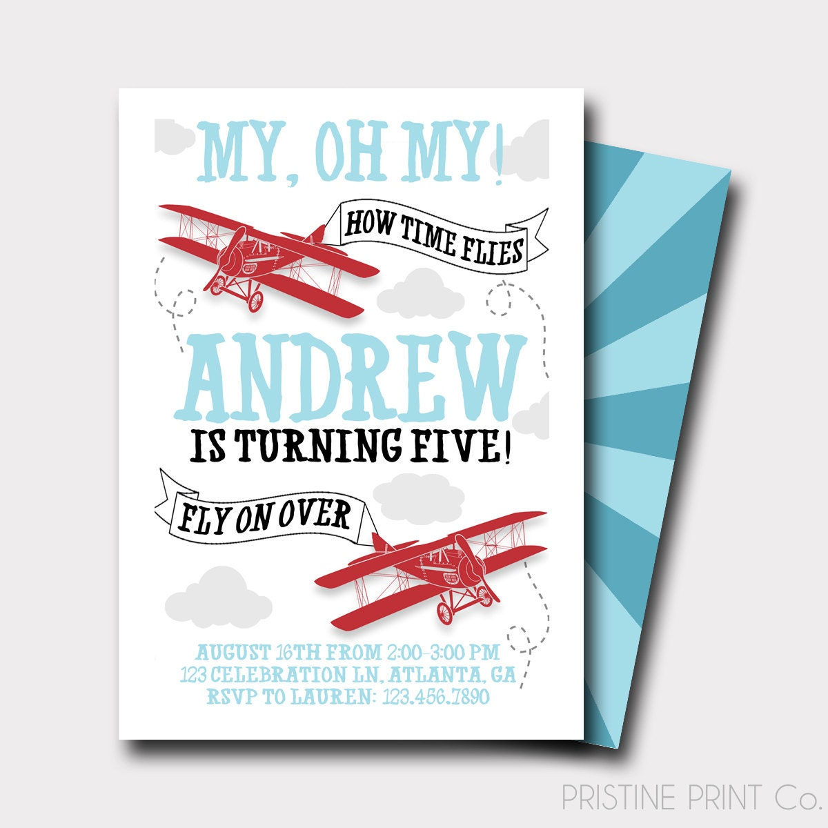 Airplane Birthday Invitation How Time Flies Up Up And Away | Etsy