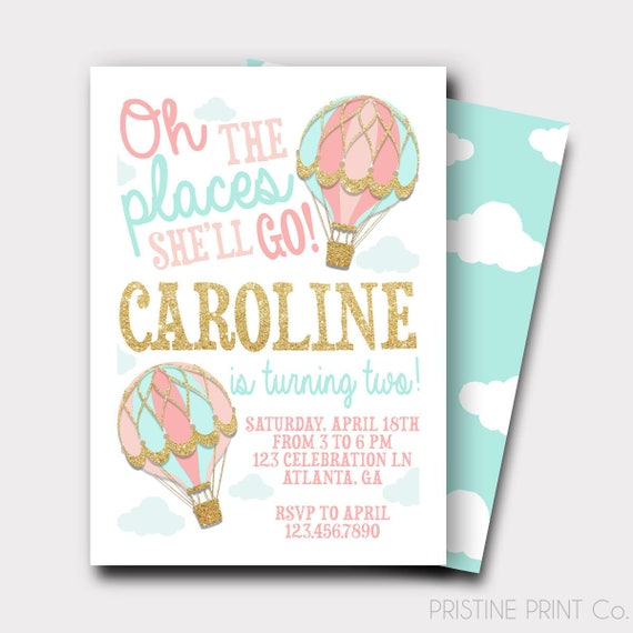 Hot air balloon birthday invitation oh the places she will etsy image 0 filmwisefo