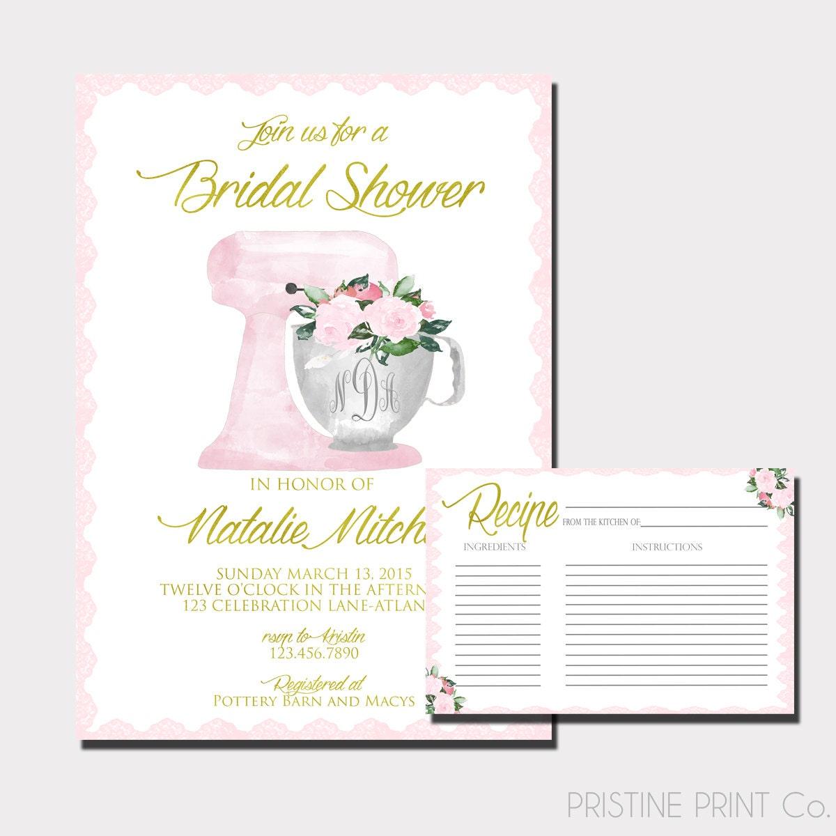 e5fab276cd92 Floral Monogram Bridal Shower Invitation Kitchen Shower
