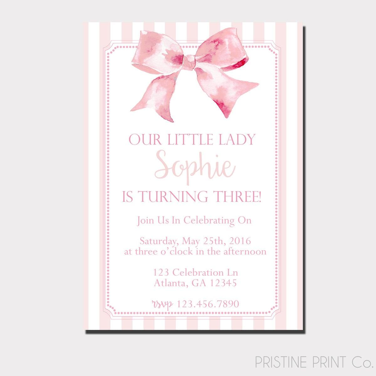 A Little Lady Birthday Invitation Pink Birthday Invitation | Etsy