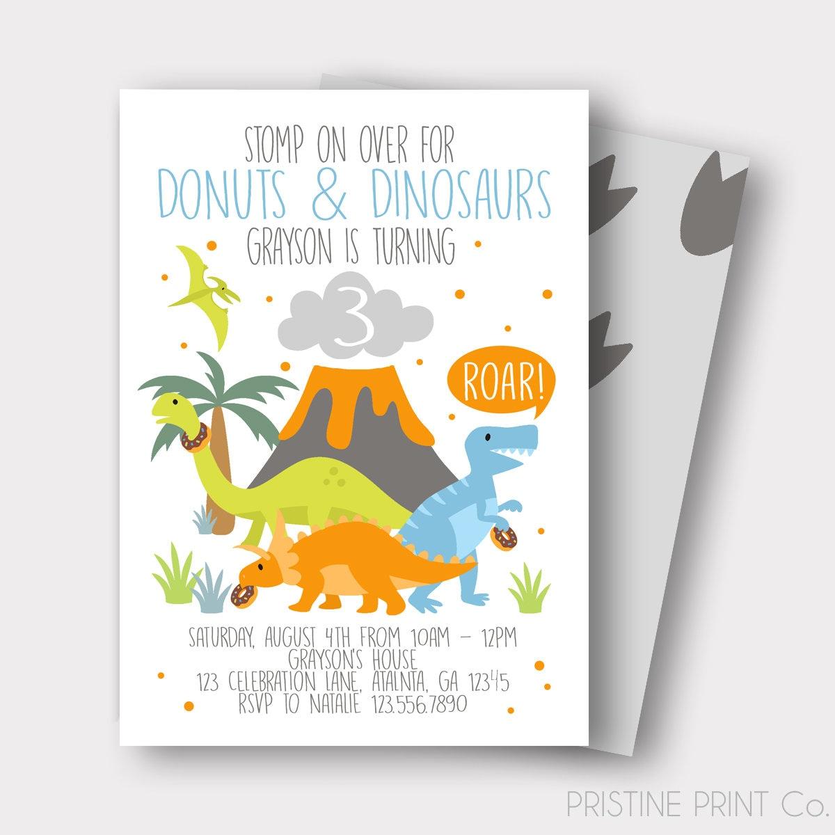 Donuts and Dinosaurs Birthday Invitation Dinosaur Birthday | Etsy