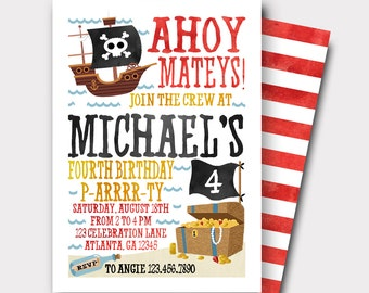 Pirate Birthday Invitation | Pirate Invitation | Pool Party Invitation | Beach Birthday Invitation | Boys Birthday Invitation | Pirate Ship