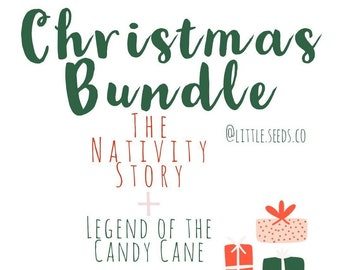 Christmas Playdoh Kit Bundle, The Nativity Story, Legend of the Candy Cane, Bible Stories, Holiday Playdoh Kit, Sensory Play, Nativity Kit,