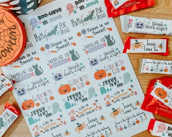 Halloween Candy Tags, Stickers, Labels, Christian Stickers, Candy labels, Halloween Tags, Stickers, Labels for Candy, Bible Themed Treats