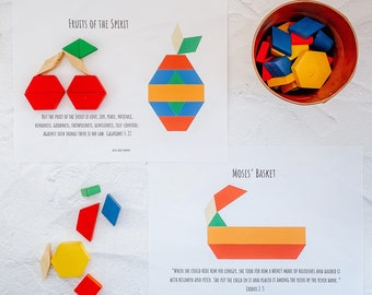 Bible Themed Pattern Block Mats Printable Pattern Tiles Tangrams Scripture Bible Stories for Kids Christian Children Homeschool Digital Item