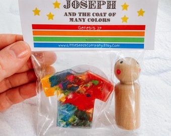 Joseph and the Coat of Many Colors Peg Doll Homemade Crayon Dream Coat Wooden Toy Bible Story Bible Craft Coat Crayon Multicolored Coat
