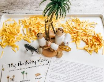 Mini Nativity Kits Sold in Sets of 5 & 10, Playdough, Bible Montessori, Nativity Set Playdough Kit, Christmas Story, Playdough Sensory Kits