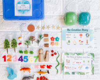 In the Beginning Sensory Kit, Bible Play, Homeschooling, Play dough Kit, Adam and Eve, Bible Story, Creation Story, Peg Doll, Bible Activity