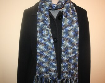 Hand knit blue multicolored knit scarf