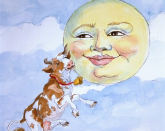 The Cow Jumped Over the Moon Watercolor