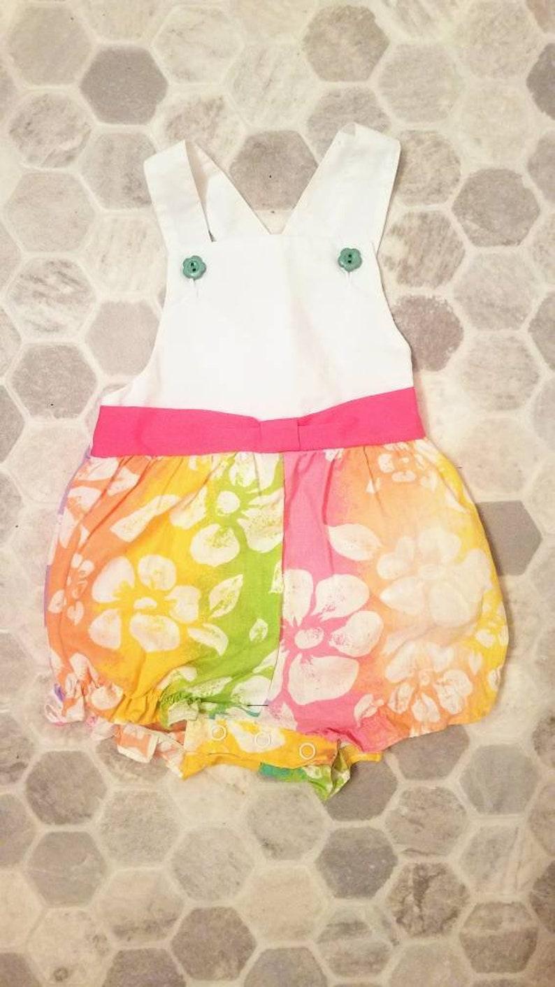 Adorable Vintage Neon Flower 1980s Baby Girl Romper 12 Months