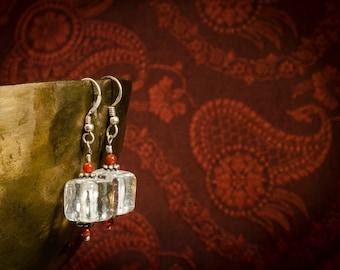 Earrings 925 Silver glass bead with small Carneolperlen