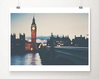 London photograph big ben photograph London print London decor houses of parliament travel photography London art river thames print