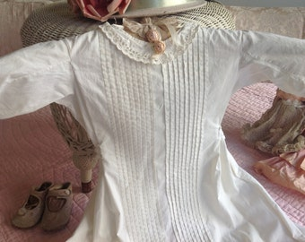 Beautiful antique creamy white pin tucked lace blessing dress